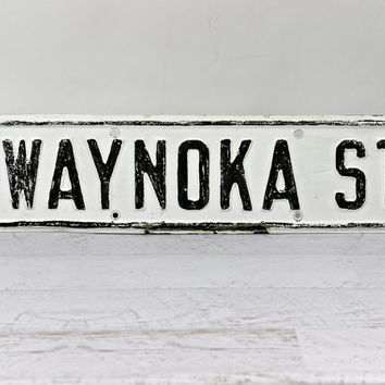 Street Sign, Vintage Metal Street Sign, Black And White Street Sign, Industrial Decor