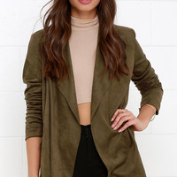 Pleasant Journey Olive Green Suede Jacket