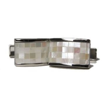 Soft White Stone Mosaic Mother Of Pearlcufflinks