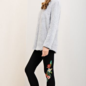 Entro Solid Mid-Waist Casual Pants with Embroidery