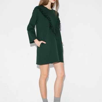 Green Ruffled Sweatshirt Dress