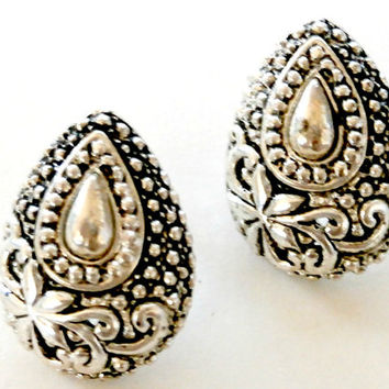 Vintage silver tear drop earrings antique retro tear drop earrings silver bridal earrings