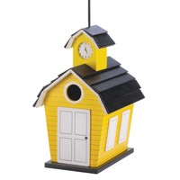 Cheery Yellow Schoolhouse Birdhouse