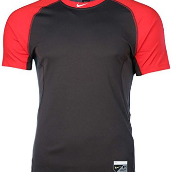 Nike Men's Dri-Fit Core Fitted Base Layer Raglan Baseball Shirt-Gym Red/Anthracite-Large