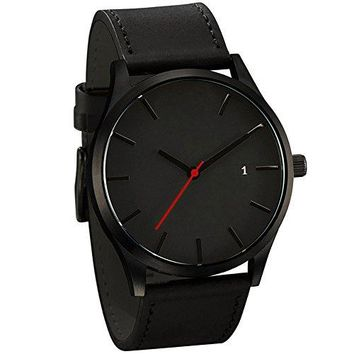 Han Shi Mens Quartz Wristwatch, Fashion Popular Low key Minimalist Connotation Leather Clock (L, Black-A)