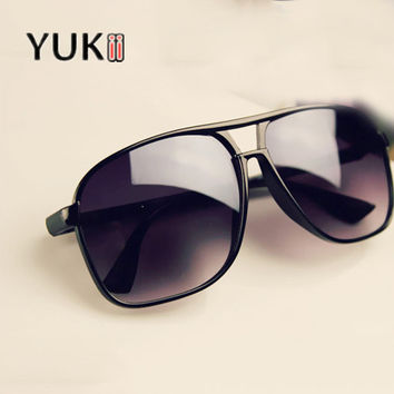 YUKII Black Big Sunglasses Women 2016 Vintage Sun Glasses Brand Designer Sunglasses Men oculos feminino