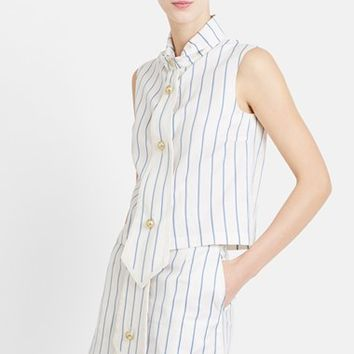 Women's J.W.ANDERSON Sleeveless Stripe Cotton Top with Tie