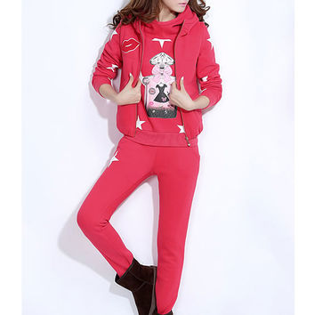 Star Print Hooded Long Sleeve Sweater Suit