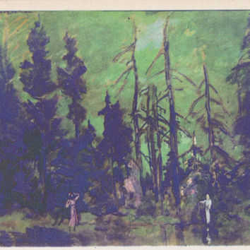 "K. Korovin ""Forest Reserve. Scenery Design for ""Snegurochka"" by A. Ostrovsky"" Postcard -- 1966"