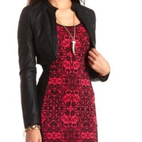 Cropped Faux Leather Bolero Jacket by Charlotte Russe - Black