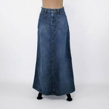 Long Denim Skirt Denim Maxi Skirt Small Size 4 Skirt Ralph Lauren Womens Skirts Vintag
