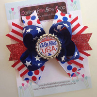 4th of July bow - Little Miss USA - Patriotic -- red, white, blue, polka dots, stripes, stars - optional headband