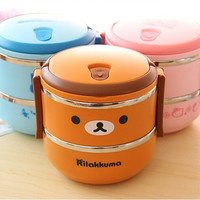 "New 2 color fashion Bento lunch box 2-tier stainless steel thermal insulation box Diameter 6.5"" high 6"""