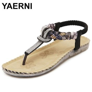 YAERNI Flat shoes Women new summer national wind sandals Bohemian diamond big size shoes beach shoes Flip-Flops BT538