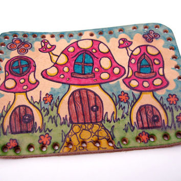 SALE Sew on patch, upcycled leather, fairy mushroom house village, hand drawn and inked, lacquered, handmade, one of a kind art