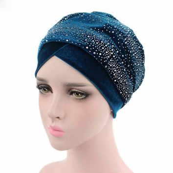 2018 Giant Star Rhinestone Velevet Headband Muslim Long Tail Scarf Hat Wrapped Headdress TJM-38C Hair Accessories Free Shipping