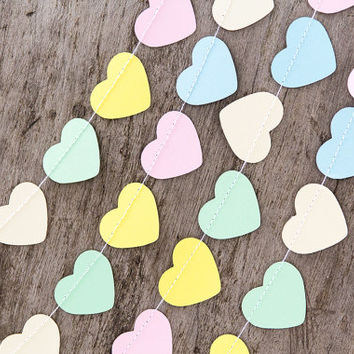 Pastel paper garland bunting, wedding garland decor, heart garland, party home decor, nursery banner