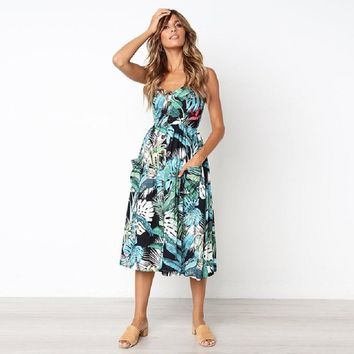 Floral Print Summer Dress Women Boho Beach Sexy V Neck Sleeveless Midi Dresses Plus Size 3XL Pockets Backless Dress Vestidos