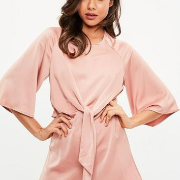 Missguided - Pink Tie Front Kimono Sleeve Romper