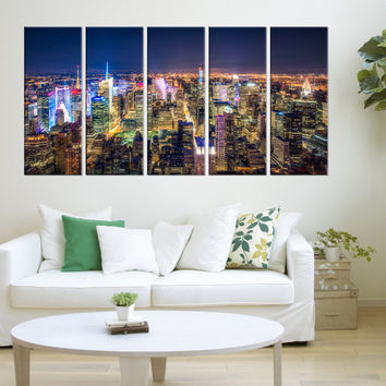 large New York skyline wall art canvas, New York night canvas prints, Extra Large wall art New York photo Print, home decor no:8s89