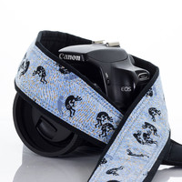 075 Blue Kokopelli Camera Strap