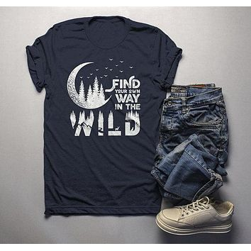 Men's Forest Hipster T-Shirt Moon Shirt Birds Trees Stars Find Your Way Wild Wanderlust Graphic Tee
