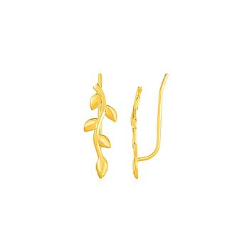 Leafy Branch Motif Climber Earrings in 14K Yellow Gold