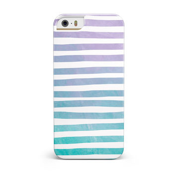 Purple to Green WaterColor Ombre Stripes INK-Fuzed Case for the iPhone 5/5S/SE