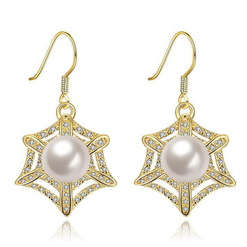Gold Plated Spider Web Design with Pearl Insert Drop Down Earrings