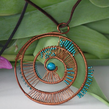 Copper wire wrapped turquoise helix pendant. Copper leather necklace. Copper wire jewelry. Birthday gift for her. Gift for women