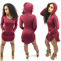 Hooded Long Sleeve Side Slit Body-con Dress