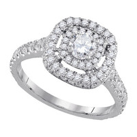Diamond Bridal Ring with 0.33ct Center Round Stone in 14k White Gold 1.22 ctw