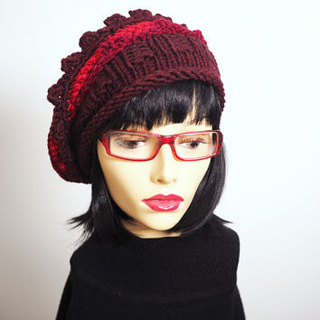 Knit cloche - Red hat - Ready to ship - Woman winter hat - Burgundy crochet hat - Multi tam - Chunky knit hat - Roll brim hat - Ruffle hat