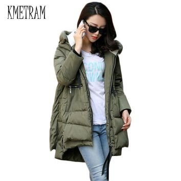 Winter Jacket Women 2017 New Europe Style Fashion Loose Medium Long Autumn Winter Plus Size Down cotton Parkas Lady Coat M0514
