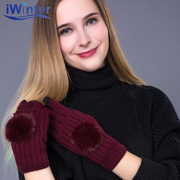 IWINTER 2017 New Fashion Winter Gloves For Woman Casual Touch Screen Warm Winter Knitted Girls Gloves Patchwork Mittens Gloves