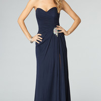 Floor Length Strapless Alyce Dress