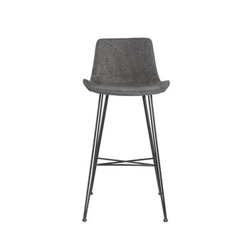 Ura-B Bar Stool in Dark Gray Fabric with Matte Black Legs
