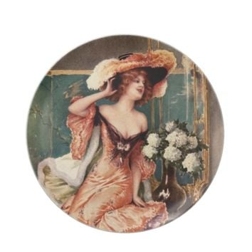 Victorian Pin Up Girl Dress Fashion Costume Paris Dinner Plate