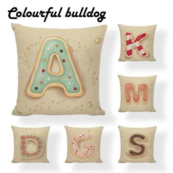 Cheap Cookies Letter A-Z Monogrammed Reading Book Cushion Cover Chic Meditation 17X17 Without Inner Lumbar Support Pillow Case