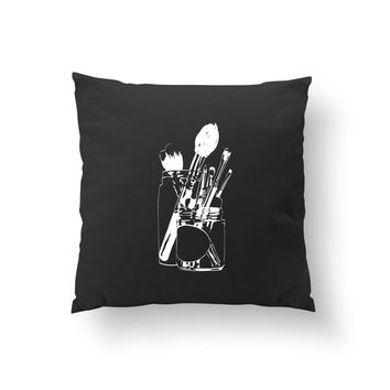 Brushes In Jar Pillow, Cushion Cover, Fashion Chic, Makeup Accessories, Fashion Pillow, Decorative Pillow, Throw Pillow, Makeup Illustration