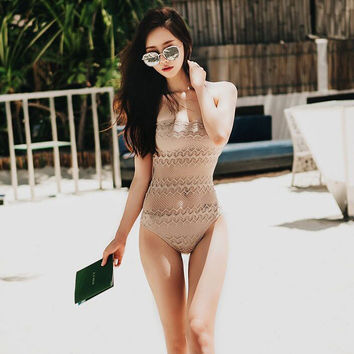 High Quality Comfortable Summer Korean Bra Lace Hollow Out Sexy Swimwear [11173178772]