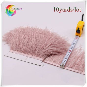high quality 10yards dyed leather pink ostrich feather trims fringe natural ostrich feather trimming for skirt/dress/costume
