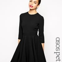 ASOS PETITE Dipped Hem Dress with 3/4 Sleeve