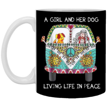 Hippie Car A Girl And Her Dog Living Life In Peace Mug Coffee Mug 11 oz Mug
