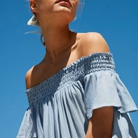Cooperative Striped Off-The-Shoulder Flutter Sleeve Dress | Urban Outfitters