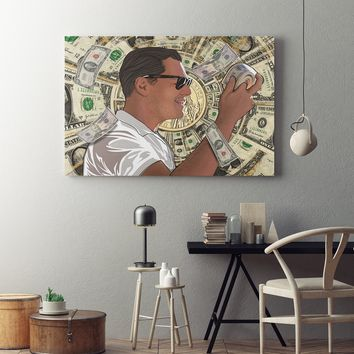 Money Roll Wolf of Wall Street Framed Canvas Art DiCaprio Art