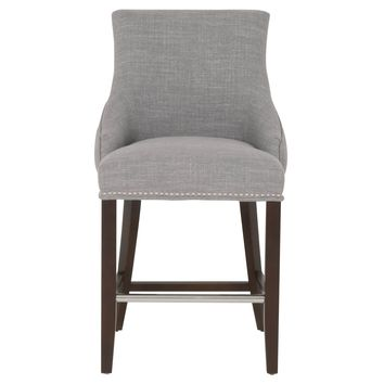 Nail Head Trim Counter Stool In Wood, Gray