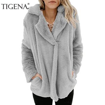 Trendy TIGENA Faux Fur Winter Jacket Coat Women 2018 Autumn Turn-Down Collar Long Sleeve Bomber Jacket Female Black Green Jacket Lady AT_94_13