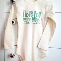Handprinted cotton organic baby bodysuit long sleeves. I love you to the moon and back