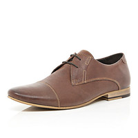 River Island MensBrown leather stitch detail lace up shoes
